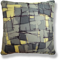 yellow abstract vintage cushion 822 Front