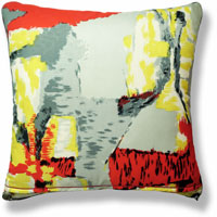 yellow abstract vintage cushion 822 Back
