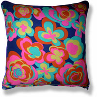 cyan floral vintage cushion 845 Front