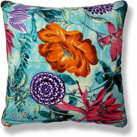 cyan floral animal vintage cushion 847