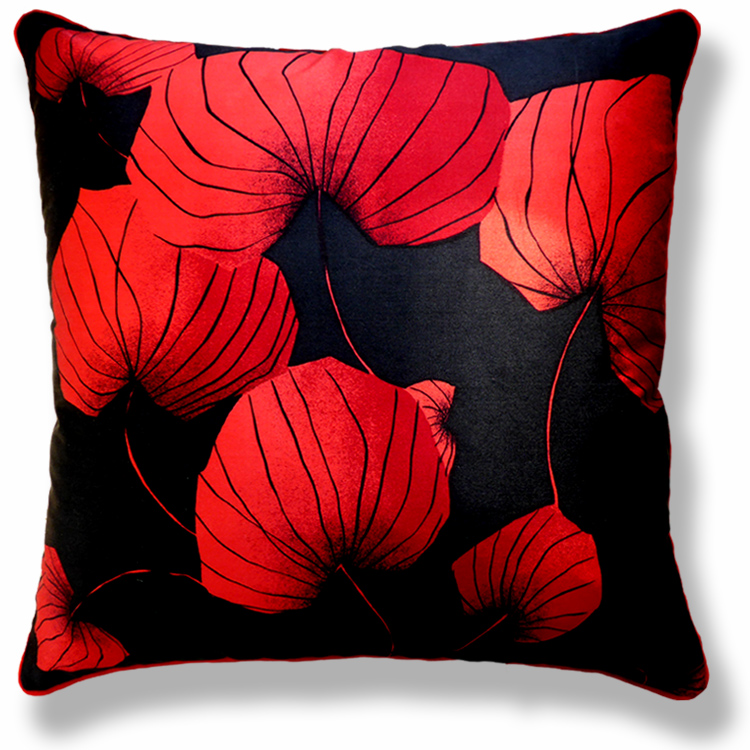 red floral vintage cushion 555