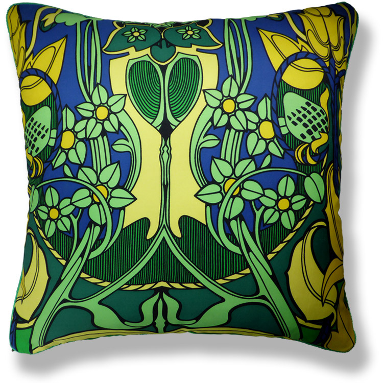 green floral vintage cushion 781