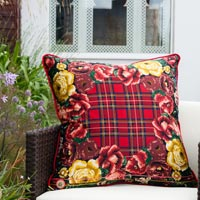 red floral vintage cushion 728