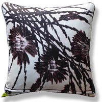 black and white floral vintage cushion 739 Back