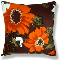 orange floral vintage cushion 742