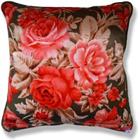red floral vintage cushion 876 Front