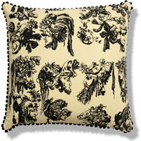 yellow graphic vintage cushion 384 Front