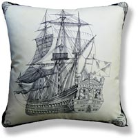 black and white graphic vintage cushion 756