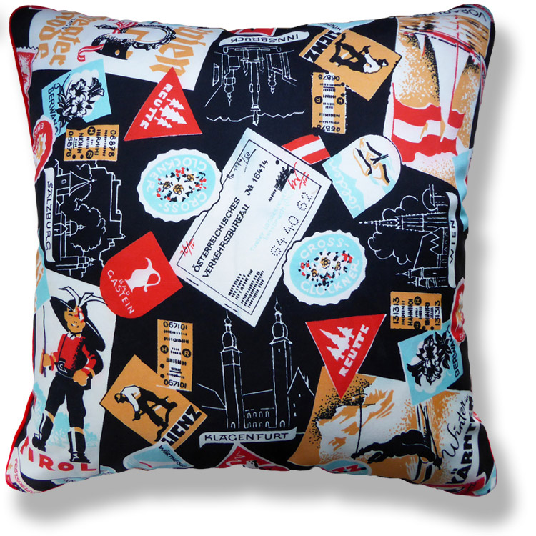 black and white travel vintage cushion 775
