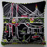 black and white travel vintage cushion 631